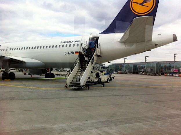 Passengers loading a jet
